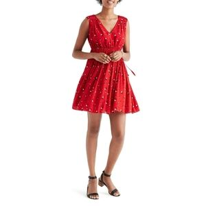 Madewell Magnolia Tie Back Red Floral Dress Small